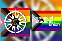 University of Greenwich and Greenwich Students' Union logos on pride flag colours