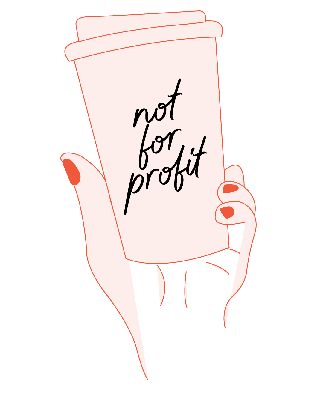 Graphic of cup with not for profit text
